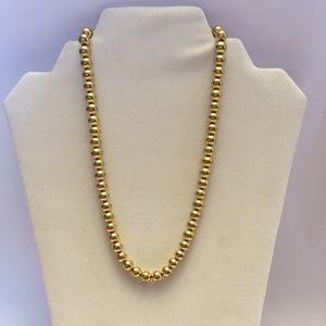 Vintage gold tone round bead necklace